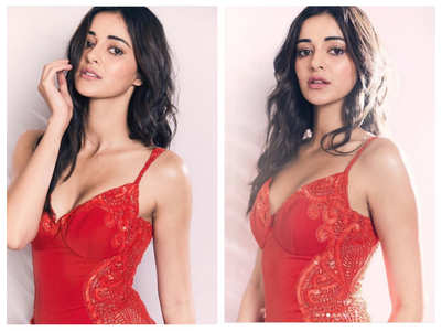 Ananya stuns in her ravishing red attire