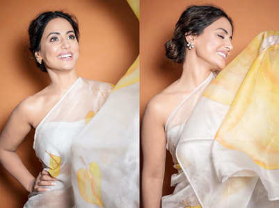 Hina exudes elegance in silk organza saree