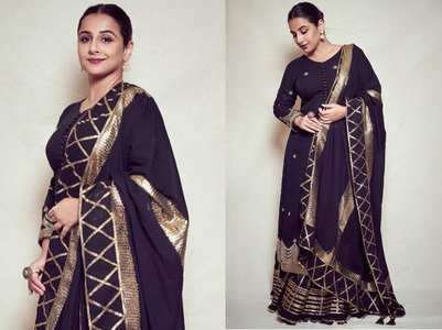 Vidya Balan's long kurta and sharara pants can be your fancy outfit for a friend's Sangeet night