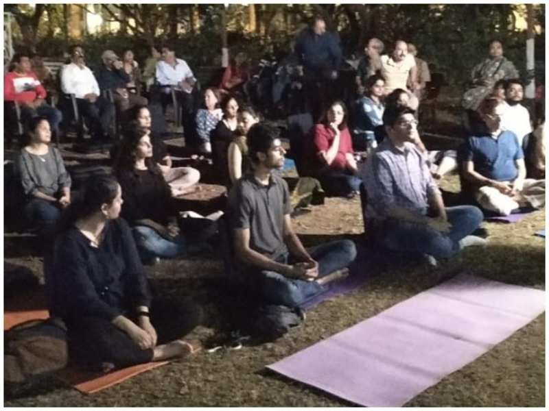 Participants get into a meditative state as the flute plays on
