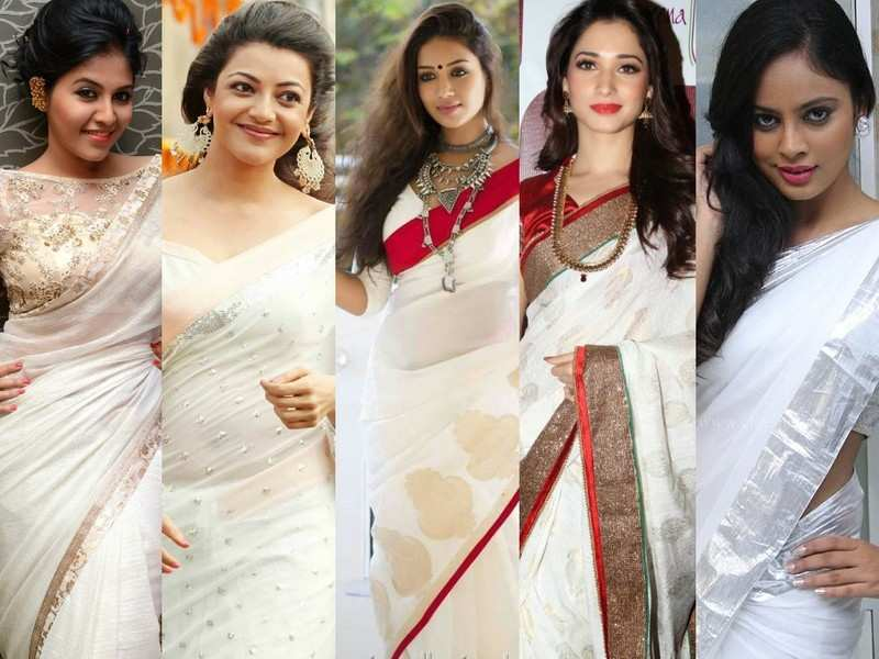 A look at five Tamil actresses who make for a dazzling sight in white sarees