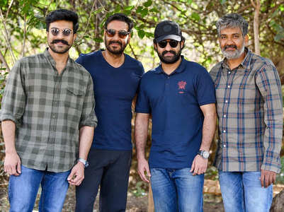 Pics: Jr NTR welcomes Ajay to 'RRR' world