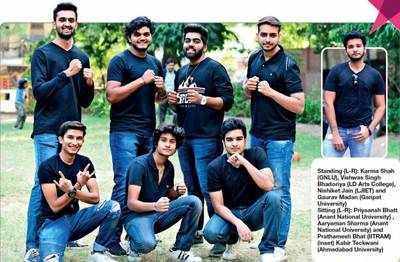 Standing (L-R): Karma Shah (GNLU), Vishwas Singh Bhadoriya (LD Arts College), Nishiket Jain (LJIET) and Gaurav Madan (Ganpat University) Sitting (L-R): Priyaansh Bhatt (Anant National University) , Aaryaman Sharma (Anant National University) and Prathamesh Bhat (IITRAM) (inset) Kabir Teckwani (Ahmedabad University)