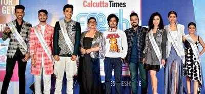 (L-R) (Second runner-up) Tanishk Rajput, (First runner-up) Abhiprit Bakshi, (Winner) Rajdeep Bhattacharya, Sreelekha Mitra, Riddhi Sen, Abhishek Dutta, (Winner) Yukta Shah, (First runner-up) Sreeparna Ghosh and (Second runner-up) Kaushiki Dasgupta