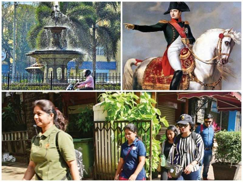 (Clockwise) Wellington Fountain; a painting of Napoleon Bonaparte and the heritage walk in progress
