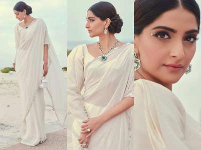 Sonam Kapoor's white sari, asymmetrical blouse