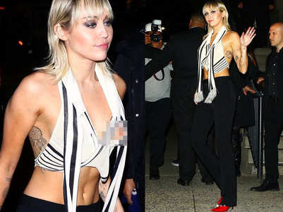 Miley posts pics of her wardrobe malfunction