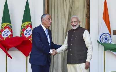 Image result for PM Modi and Portuguese President Marcelo met