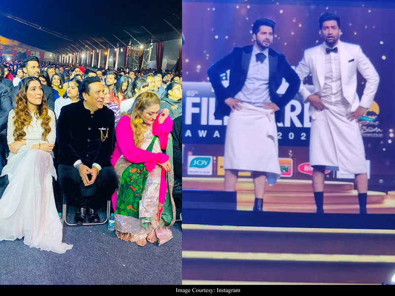 Govinda joins Varun Dhawan in an impromptu Antakshari at the 65th Amazon Filmfare Awards 2020