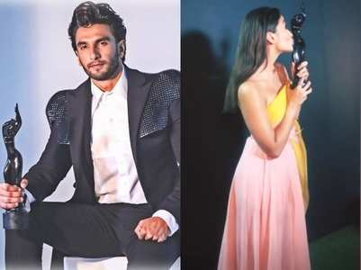 Ranveer, Alia &others pose with Filmfare award