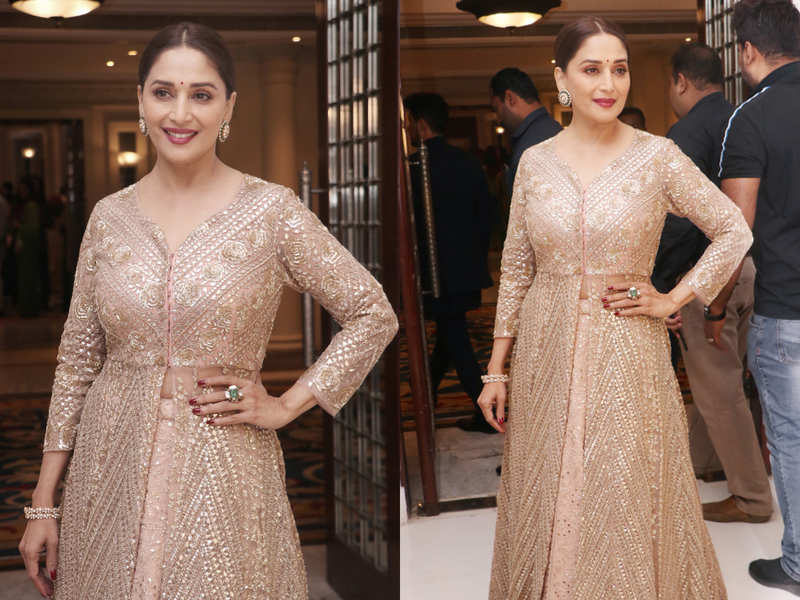 Madhuri Dixit Nene's gold anarkali gown is on our wedding shopping list