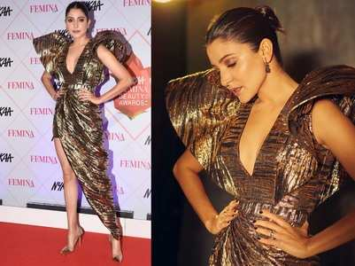 Anushka goes metallic for her latest outing!