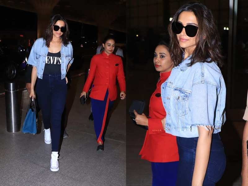 Photos: Deepika Padukone pairs crop denim jacket and jeans ...