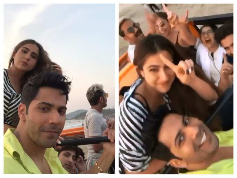 Watch: Varun Dhawan and Sara Ali Khan have fun on the beach as they shoot for 'Coolie No 1' in Goa