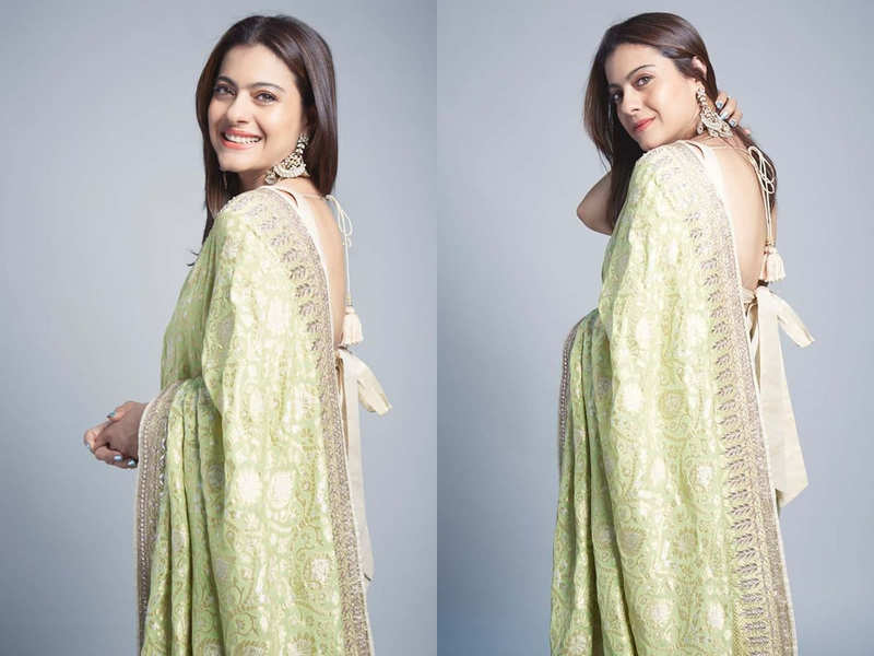 Kajol looks out of this world in this lemon Benarasi silk sari