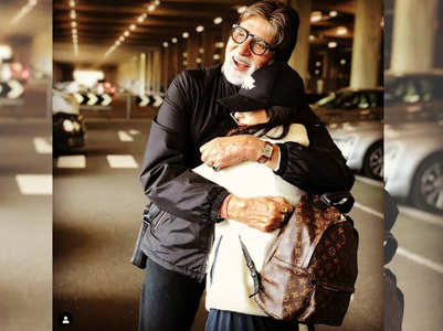 Pic: Big B hugs his granddaughter Navya Naveli