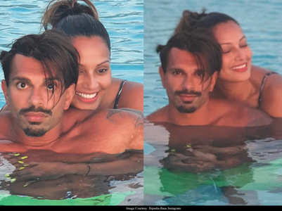 Pic: Bipasha-Karan enjoy a dip in the pool