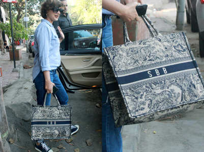 Sonali Bendre's bag has her initials written on it