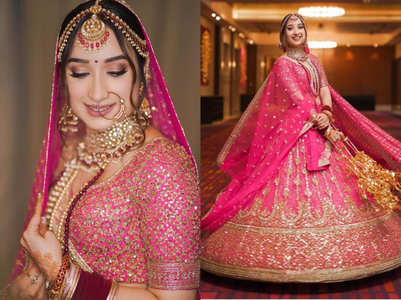 This bride's beautiful pink lehenga is gorgeous