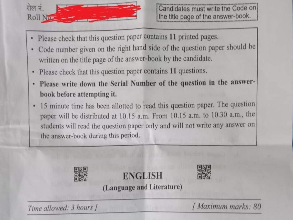 Cbse 10th English Question Paper 2020 Times Of India