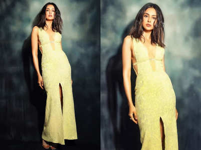 Rakul Preet Singh's lemon yellow gown with a plunging neckline is setting Instagram on fire
