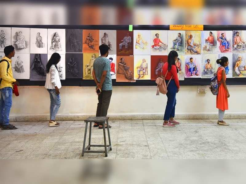 Students of Government College of Arts & Science put forth their annual exhibition