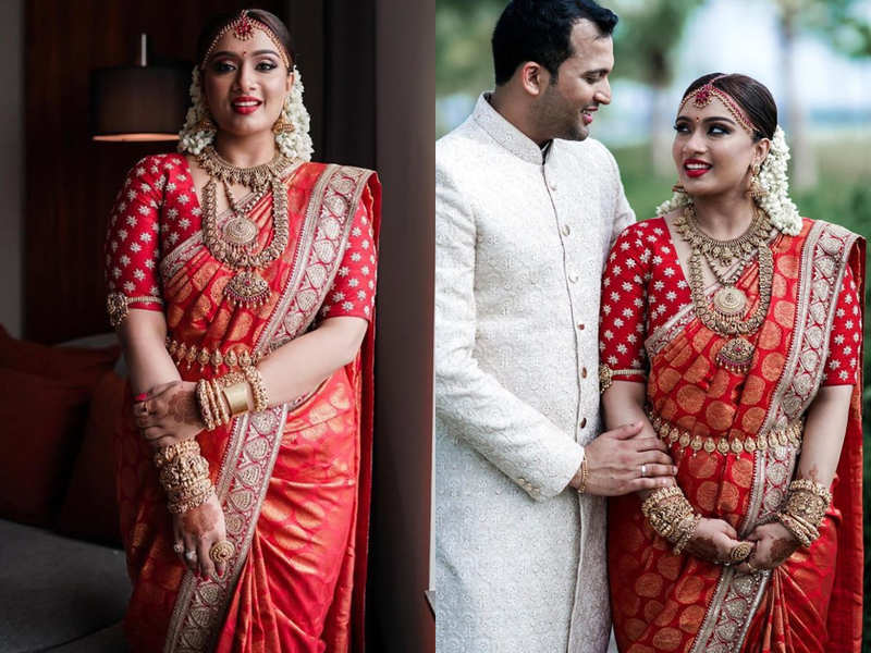 This Kerala Bride Wore The Most Gorgeous Red And Golden Sabyasachi For Her Wedding Times Of India