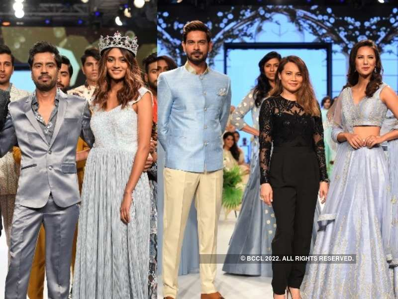 (L): Designer Manish Kumar strikes a pose with Femina Miss India Continents 2019 Shreya Shanker, (R) Anj designer Anjoo Karanjia poses with her showstoppers Keith Sequeira and Rochelle Rao
