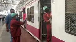 Coronavirus outbreak: Central Railway workers sanitize trains at CSMT station