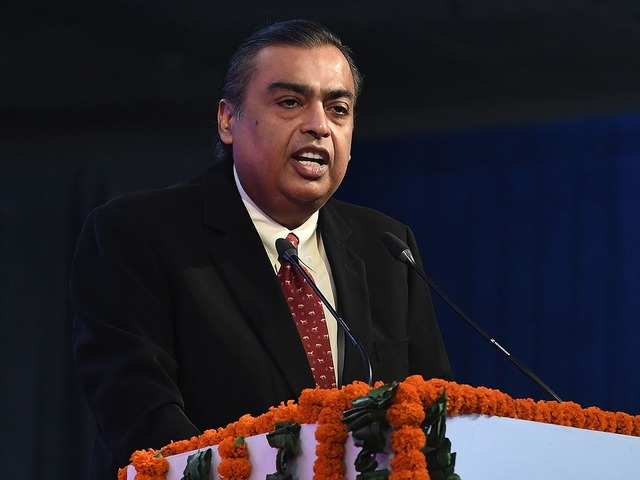 In this file photo taken on September 27, 2017 Mukesh Ambani, chairman of Reliance Industries, can be seen.