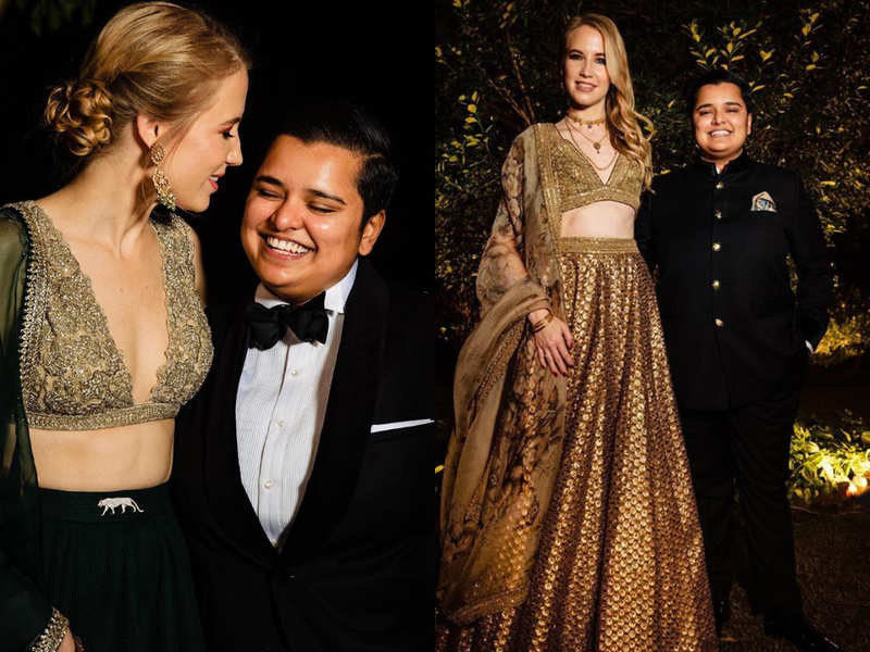This Lesbian Swiss fashion boutique owner wore Sabyasachi lehengas for her wedding festivities and she looked out of this world
