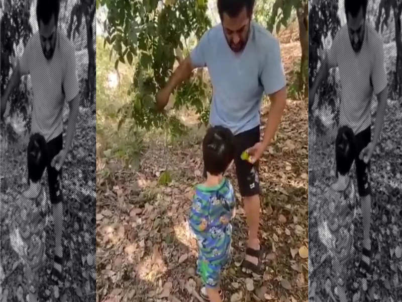 Salman Khan and Ahil going for fruit picking is the cutest thing you will see on the internet today