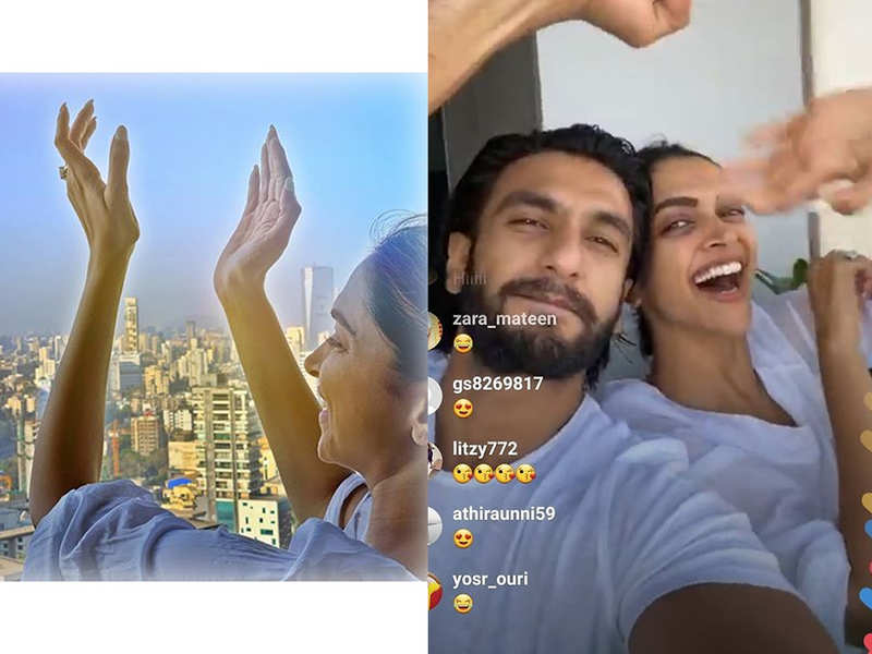 Ranveer Singh and Deepika Padukone cheer from their balcony – watch video
