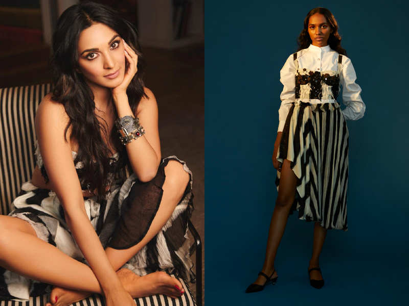 Kiara Advani just wore the most gorgeous striped bustier with asymmetrical skirt