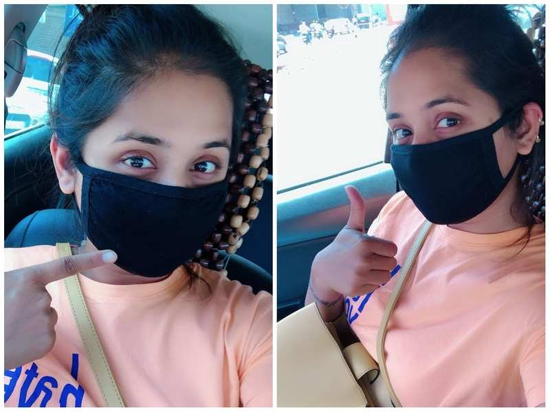 Kajal Raghwani dons a face mask as she steps out in the city