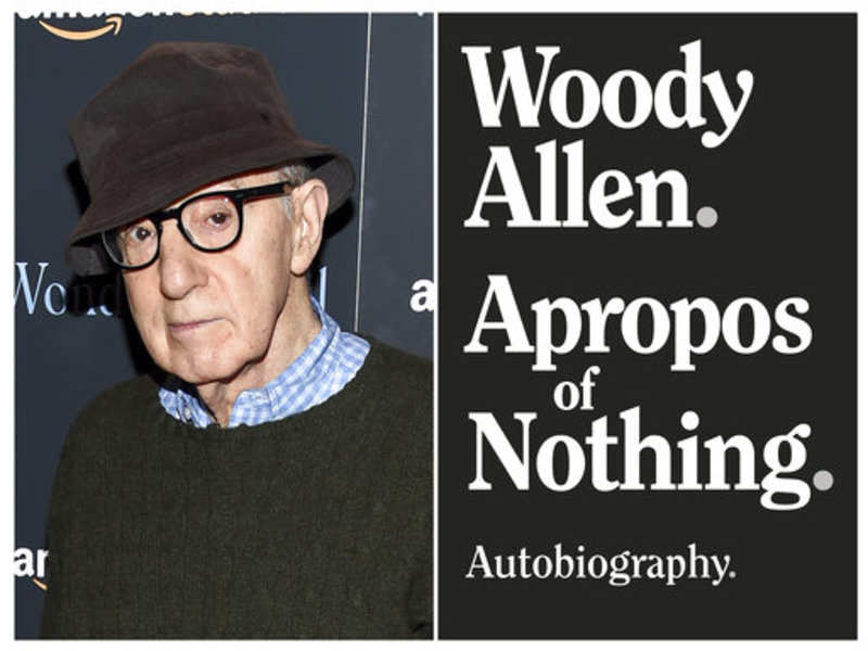 """This combination photo shows director Woody Allen at a special screening of """"Wonder Wheel"""" in New York on Nov. 14, 2017, left, and a cover image for """"Apropos of Nothing,"""" Allen's autobiography. Allen's memoir has been released with a new publisher. It was dropped last month after widespread criticism. But it came out Monday by Arcade Publishing with little advance notice.Photo, left, Arcade Publishing via AP)"""