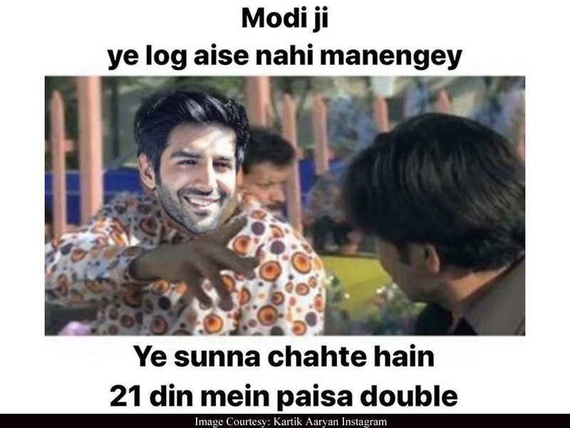 Kartik Aaryan photoshopped himself into Akshay Kumar's 'Phir Hera Pheri' to create a hilarious meme on 21-day lockdown