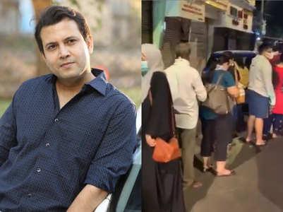 Long queue outside shops; Abhinav shares video