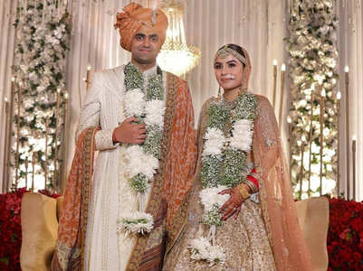Trending: Couple in silk sherwani and silk lehenga