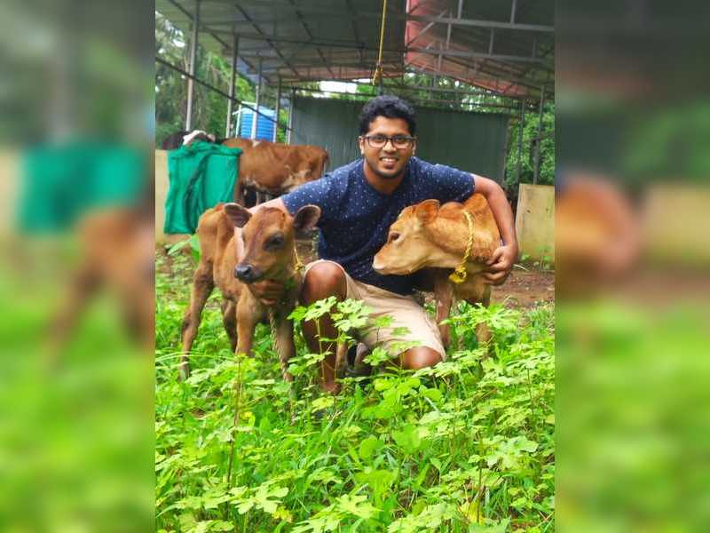 <p><em></em>Alirio with his calves at his farm</p><p><br></p>