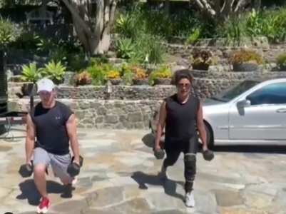 PC and Nick enjoy a workout session together