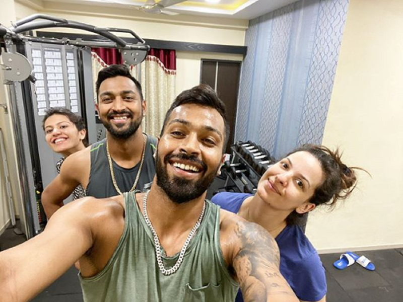 Coronavirus lockdown: Hardik Pandya enjoys a fun session with his 'babies' Natasa Stankovic and brother as they work out together