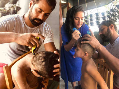 Shabir Ahluwalia trims kids' hair; watch