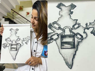 Hina Khan sketches current situation of India