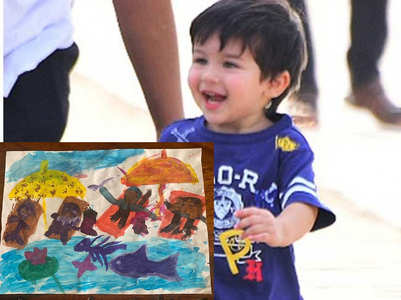 Bebo gives a glimpse of Taimur's painting