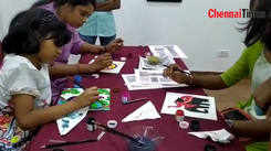 People took part in a Madhubani painting session