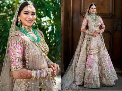 Bride's breathtaking pale gold lehenga