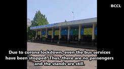 Corona Lockdown: City bus stops deserted