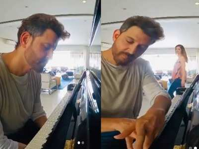 Sussanne photobombs Hrithik's piano video!