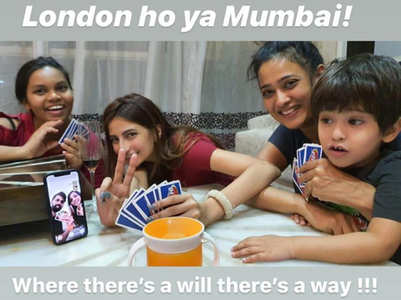 Shweta, kids play UNO with family in London